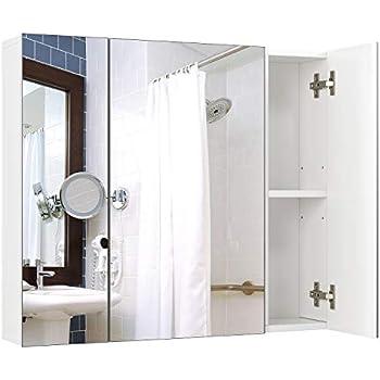 Homfa meuble miroir murale armoire de toilettes meuble - Armoire a glace salle de bain ...