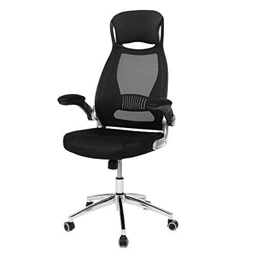SONGMICS Mesh Office Chair with Backrest, Headrest, Flip up Armrests, PU casters in silence, Swivel Desk Chair for Home Office Black OBN86BUK