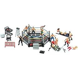Toyvian Mini Wrestling Playset Wrestling Action Figure con Ring Realistic Wrestlers Challenge Scene Models Set Giocattoli per Bambini (15x12cm)