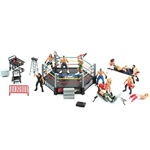 Toyvian Mini Wrestling Spielset Wrestling Action-Figuren mit Ring Realistische Wrestler Herausforderung Szene Modelle Set Kinderversammlung Spielzeug (15x12 cm) (Spielzeug Wrestling Action-figuren)