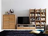 Wohnwand Pisa 21 Eiche Bianco massiv Lowboard Regal Schrank Medienwand TV-Wand TV-Möbel, Ausführung:Regal rechts