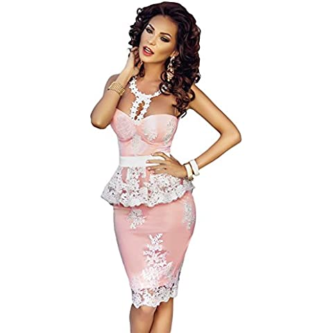 Pizzo floreale Crochet nudo illusione Rosa e Gonna taglia 10 – 12