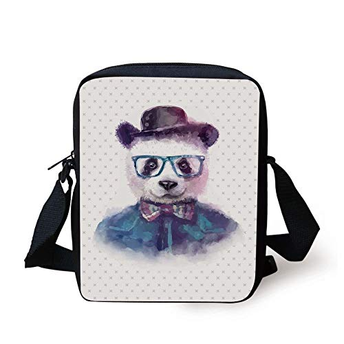 Funny,Vintage Hipster Panda with Bow Tie Dickie Hat Horn Rimmed Glasses Watercolor Style,Black Blue Print Kids Crossbody Messenger Bag Purse