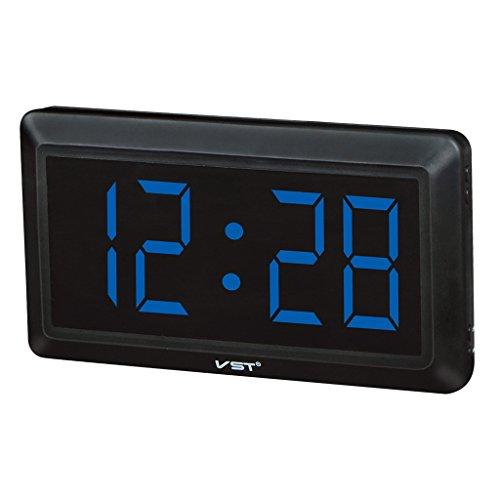 MagiDeal LED Reloj Digital con 4 Pulgadas Pantalla Grande Visualización de 24 Horas - UE - Azul