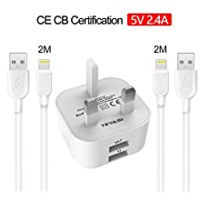 TEYASI Phone Charger i Phone Cable 2Pack 2M and Fast Charging Plug,Dual USB Charger Plug Adapter 2.4A with long Charger Lead for iPhone SE 2020 XS Max XR 11 Pro 8 7 6 6S iPad