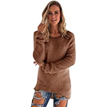 a96e3b9696ca Pull Long Maille Femme Pull Tunique Manches Longues Col Rond Chaud Hiver  Epais Pull Mohair Robe