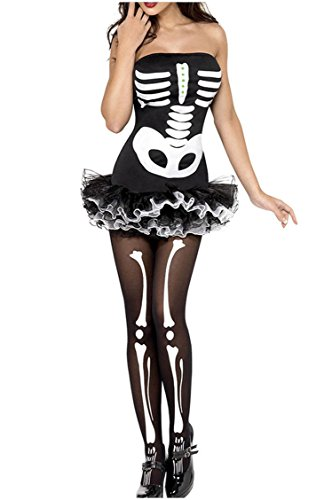 Shangrui Weibchen Cosplay Kostüm Serie Skeleton Bone (Minnie Up Mouse Kostüm Dress)