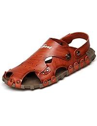 Beauqueen Doublure fermée à double usage Hommes en plein air Chaussures en cuir creuses en cuir Chaussons Vacances antidérapantes saines Chaussures décontractées 38-44