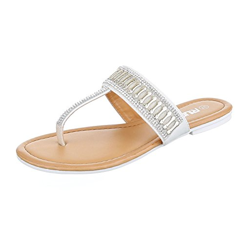 Ital-Design Zehentrenner Damen Schuhe Peep-Toe Blockabsatz Zehentrenner Sandalen / Sandaletten Weiß