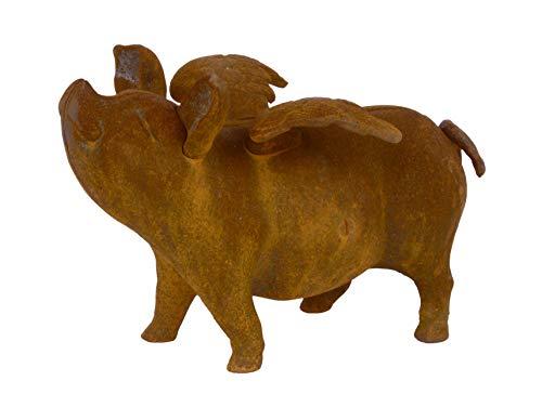Hucha con forma de casita diseño de ahorro: volador cerdo hierro fundido H: 17 cm