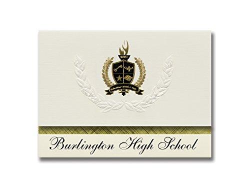 Burlington Highschool (Burlington, MA) Schulabschluss-Ankündigungen, Präsidential-Stil, Grundpaket mit 25 goldfarbenen und schwarzen Metallfolienversiegelungen