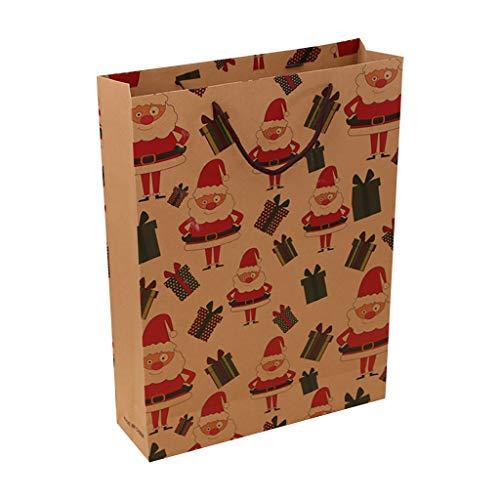 Heetey Beutel-Papiertüte, die Kraftpapier-untere Einkaufstasche verpackt Tasche Geschenktüte Weihnachtstaschentasche Kraftpapiertüte Geschenke Partei Liefert
