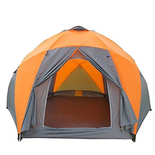 8 Bis 10 Personen Qualitäts-windundurchlässige Wasserdichte Im Freien Hex-Zelt Durable Family Camping-Zelt,Orange-XL