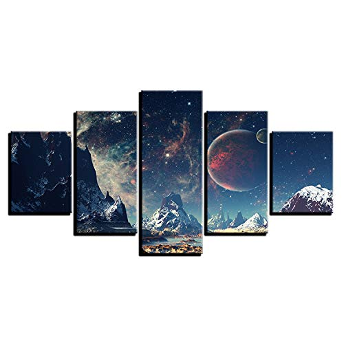 DMMASH Leinwand HD Prints Wall Art Pictures Mountains und Space Painting Set Planet Snow Poster,Painting+Frame,100 * 55cm