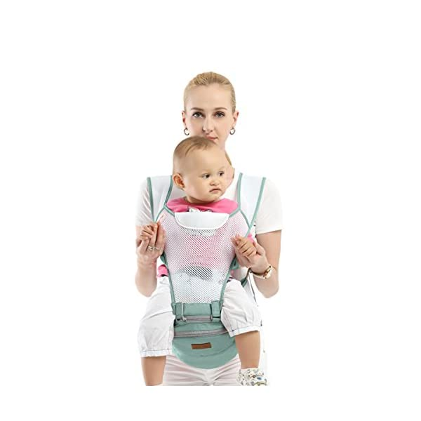 SONARIN 360°Breathable Premium Hipseat Baby Carrier, Ergonomic, Mummy Bag,100% Cotton, Breathable mesh Backing, Cozy & Soothing for Babies,100% Guarantee and Free DELIVERY,Ideal Gift(Green) SONARIN Applicable age and Weight:0-36 months of baby, the maximum load: 36KG, and adjustable the waist size can be up to 45.3 inches (about 115cm). Material:designers carefully selected soft and delicate 100% cotton fabric. Resistant to wash, do not fade, Inner pad: EPP Foam,safe and no deformation.360 ° all-round breathable, to the baby comfortable and safe experience. Description: patented design of the auxiliary spine micro-C structure and leg opening design, natural M-type sitting.Thickening 30mm sponge soft filling, effectively relieve Mommy abdominal force. 3D honeycomb hollow network, summer do not have to hot. 3