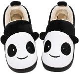 Zapatillas de Estar por Casa Niña Niño Zapatos Pantuflas Invierno Bebé Interior Caliente Peluche Forradas Slippers Negro(Panda) 21/22 EU/14-15CN