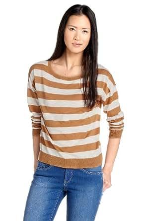 ESPRIT DE CORP Damen Pullover, gestreift C01316, Gr. 40 (L), Beige (290 biscuit)
