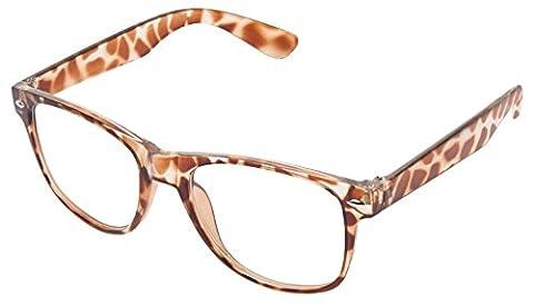 RetroUV® Klassische Brillen 80er Jahre Retro Große Horn Umrandeten Sonnenbrille Stil (Wayfarer / Schildkröte / Klar)
