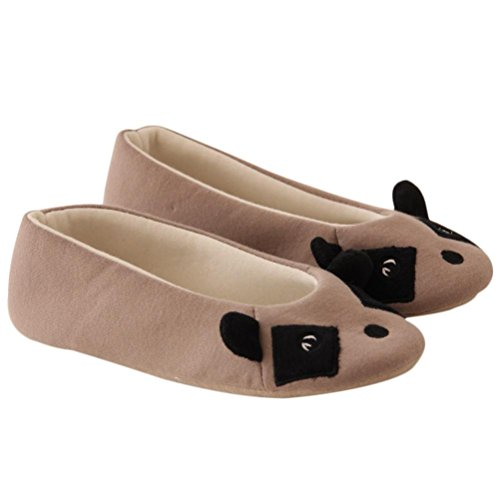 Amlaiworld Fumetto donna scarpe da ballo Piano casa morbide pantofole Indoor Grigio