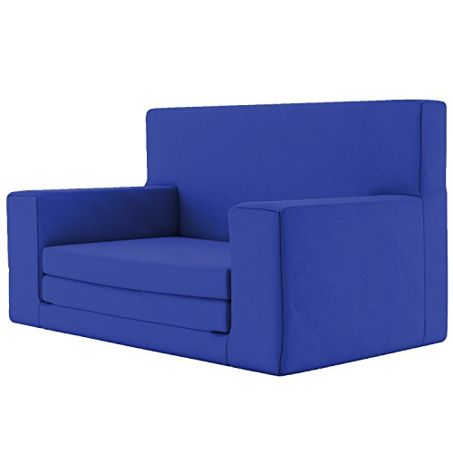 Divano letto per bambini 2 in 1 con imbottitura memory nel colore blu zaffiro - letto estraibile morbidissimo e sicuro per bambini tra gli 1 e i 4 anni - mobili per tv e sedie leggere e divertenti