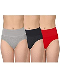 AJ FASHIONS Women's Cotton Lycra Multicolor Tummy Tucker Hipster Panty (Pack of 3) + Free Transparent Strap[1 Pair ] with This Pack