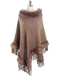 b6029d89de1c76 YueLian Feinstrick Poncho Schal Cape für Damen,weiche Umhängetuch Pullover  Stola