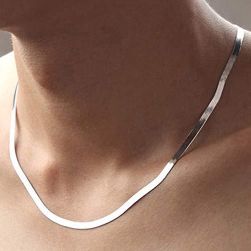 Silberkette Halskette Schmuck flache Schlangenkette Hummer Schnalle Kragen Halskette weiblich, 925 Sterling Silber Kragen, unisex unisex lange Halskette -