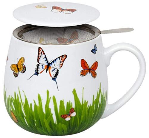 Könitz Kaffee Becher Frühlingswiese schöner Kuschelbecher mit Sieb und Deckel Kaffee Tasse, ideal auch als Tee Tasse oder Kakao Tasse, prima Geschenkidee (Tea for You - Schmetterlinge) (Kaffee-tassen Konitz)