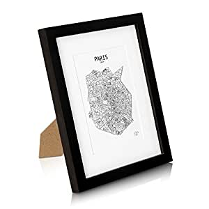 "SOLID WOOD 8x10"" Photo Frame Black (20x25 cm) - Picture Frame with Mount for 5x7"" (13x18 cm) Photo - GLASS Front - Frame Width 2 cm"