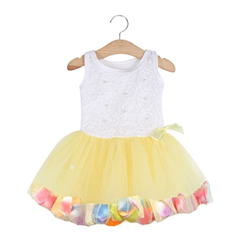 Bold N Elegant Cute Tutu Princess Dress Frock Sleeveless Princess Pageant Partywear Lace Bow Flower Tulle Dress for Baby Girls (Sunshine Yellow, 6M)