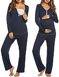 MAXMODA Damen Schlafanzug/Pyjama für Schwangerschaft und Stillzeit/Langarm mit Knöpfeleiste Winter Navyblau M