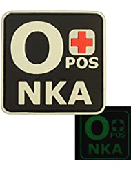 Glow Dark OPOS O+ NKA Blood Type No Known Allergies Tactical Morale PVC Rubber Fastener Patch