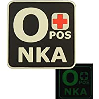 Glow Dark OPOS O+ NKA Gruppo Sanguigno No Known Allergies Tactical Morale PVC Gomma Velcro Toppa Patch