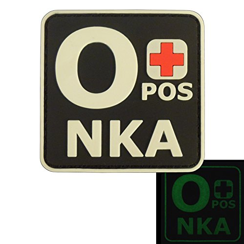 Image of Glow Dark OPOS O+ NKA Blood Type No Known Allergies Tactical Morale PVC Rubber Fastener Patch