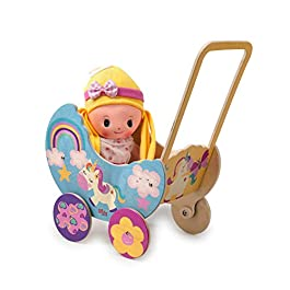 Dida – Carrozzina in Legno per Bambole – Decoro: Unicorno