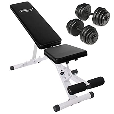 Physionics Weight Bench Seat/Backrest Adjustable + Dumbbell Set with Weight Discs (30 kg/66.1 lbs) from Physionics