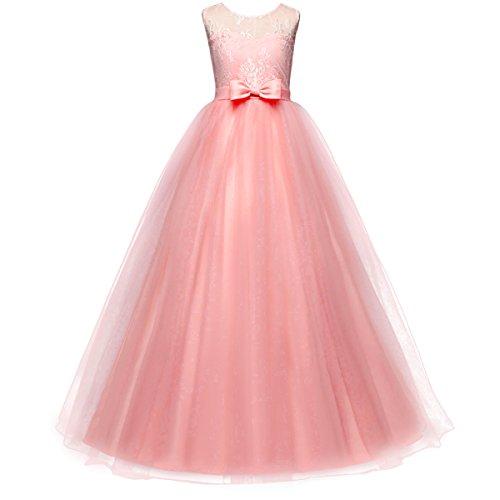 Festliches Mädchen Kleider Lange Brautjungfern Hochzeit Ärmellose Party Prinzessin Blumenspitze Kleid Rosa Koralle 5-6 Jahre