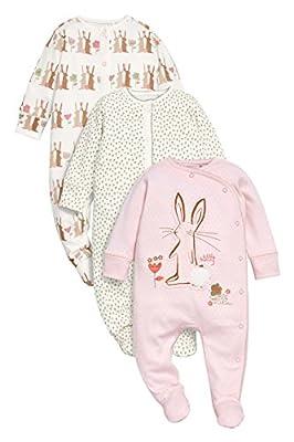 next Bebés Niñas Paquete De 3 Pijamas Peleles Conejito Rosa De Algodón (0 Meses-2 Años)
