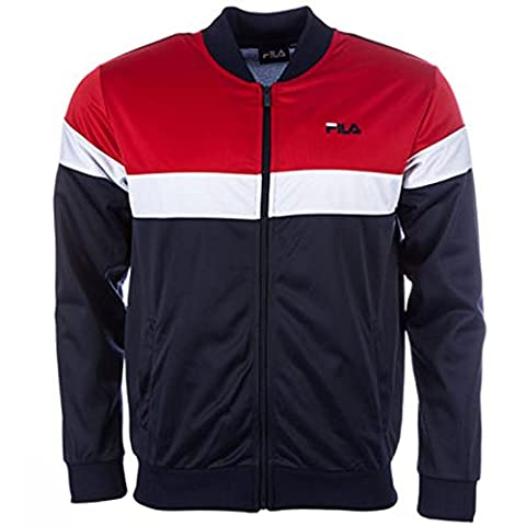 Mens Fila Mens Poly Track Top in Navy Red - 2XL