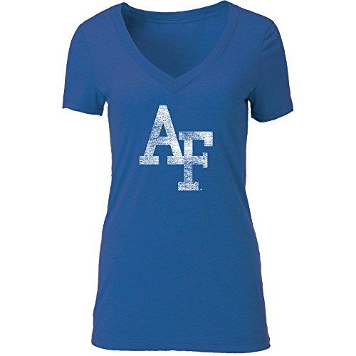 NCAA Air Force Falcons Women's Tri Blend Deep V Short Sleeve Tee, Vintage Royal, XX-Large -