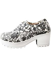 Jking Footwear Women's Floral Print Platform Shoes(Black &White Print)