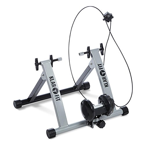 Klarfit Tourek • Rollentrainer • Fahrrad-Rollentrainer • Heimtrainer • Fitnesstrainer • geeignet für 26/28 Zoll Räder • Magnetwiderstand in 7 Stufen • faltbar • Stahl• schwarz oder Silber
