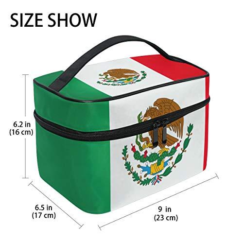 Kosmetiktasche mit mexikanischer Flagge, Adler, Reisetasche, Make-up-Tasche, Organizer für Frauen, Mädchen, Kulturbeutel, tragbare Aufbewahrung, Kosmetiktasche aus Segeltuch