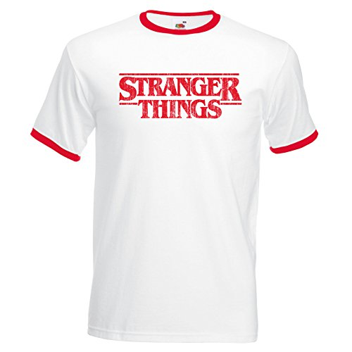 11 Womens T-shirt (Stranger Things 80's Style Distressed Ringer 11 The Upside Down Hawkins T-Shirt - White/Red - Medium)
