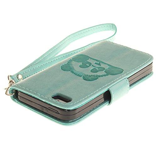 """Coque, cowx PU Etui en cuir pour iPhone se (4"""") Étui de protection en cuir iPhone se, se étui portefeuille pour iPhone iPhone se Case, poche Fonction support se poches Bols Foto15"""
