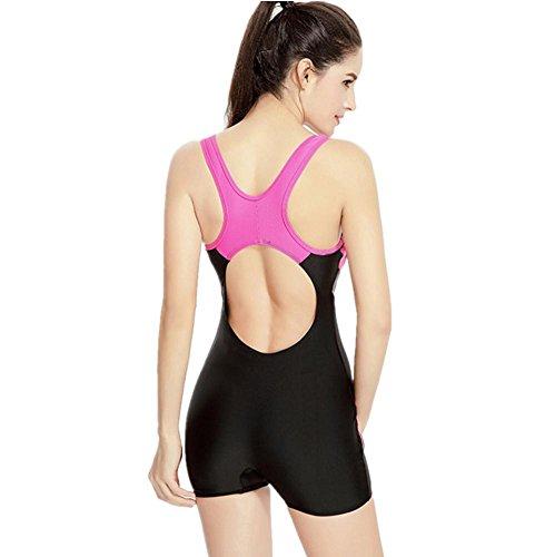 ZOYOLYT Frauen Badeanzug flache Winkel Shorts Bewegung Beruf Sport One  Piece große Größe Badebekleidung Black