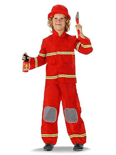 Kinder-Kostüm Feuerwehr-mann Kostüm für 6-8 jährige Feuerwehr-Kostüm Feuerwehr-Uniform Hose Jacke Fasching-Kostüm Karneval-Verkleidung THW Anzug zum Feuer-Löscher Feuerwehr-Helm
