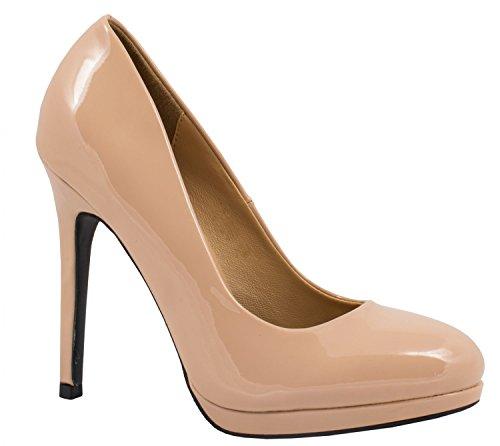 Elara Bequeme Pumps | Klassische Lack Stilettos | High Heels JA68-Gold-37