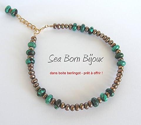 La Gourmandise (6) - Bracelet - Turquoise - Perles de Culture - Or Gold Filled 14 ct - dans Boite Berlingot Doré