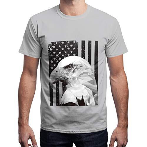 BHYDRY Herren Sommer USA Flagge Lässig Gedruckt Herren Shirts Lose Rundhals T-Shirt Tops